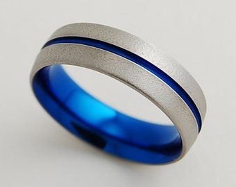 mens wedding band titanium ring the orion band with comfort fit - Mens Wedding Rings Titanium