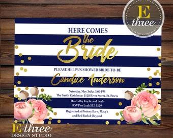 Bridal Shower Invitation - Navy, Pink, Gold Bridal Shower Invite - Stripes and Floral - Gold Foil Confetti - Wedding Shower