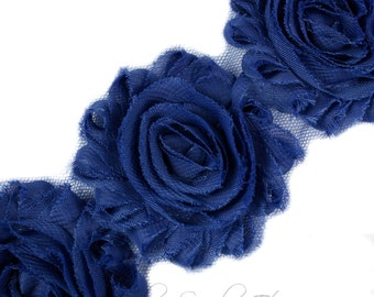 Navy Shabby Rose Trim 2-1/2 inches - Navy Blue Shabby Flowers, Navy Blue Flower Headband, Navy Blue Fabric Flower, Blue Hair Flowers