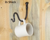 Large double bend wall hook - decorative hardware included - hand forged wrought iron plant hook
