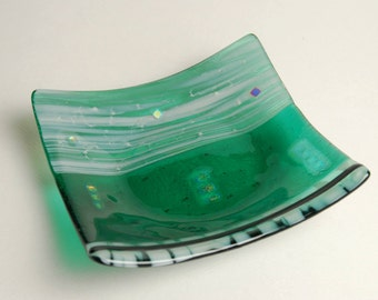 Green and white small plate.