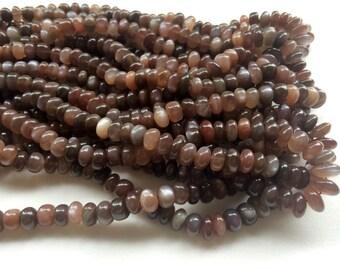 Chocolate Moonstone Beads, Chocolate Moonstone Plain Rondelle Beads, Moonstone Necklace, 7-8mm, 4 Inch, 22 Pcs - AGA7