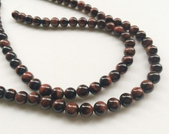 Red Tigers Eye Beads, Natural Red Tigers Eye Smooth Round Balls, Red Tigers Eye Necklace, 8mm, 14 Inch, 44 Pcs - RAMA8