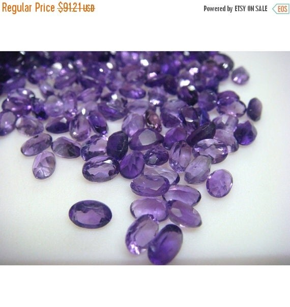 55% ON SALE Amethyst Loose Stones Lot, Faceted Cabochons, Oval faceted Calibrated African Amethyst - 6x4mm Each - 25 CTW - 55-60 Pieces