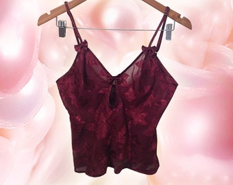 90s Goth Burgundy Keyhole Bow V Neck Sheer Leaf Print Crop Cami by Frederick's of Hollywood