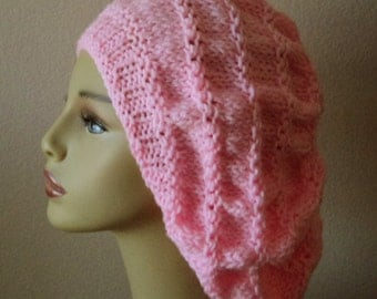 Pink Hand Knit Gathered Stitch Roomy Slouchy Hat