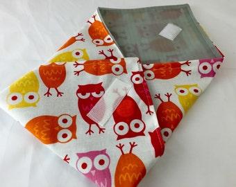 Reusable Sandwich Bag Wrap - Urban Zoologie Owls Orange- Ready To Ship