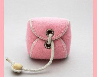 PINK Handmade Repurposed Tennis Ball Mini Bag/ Change Holder 2