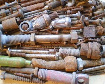104 Rusty Metal Bolts, Nails, and Parts - Industrial Salvage - Found Objects for Assemblage, Sculpture or Altered Art - Salvaged Supplies