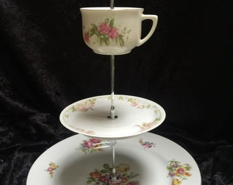 Tier Dessert Stand vintage plates for parties showers or events