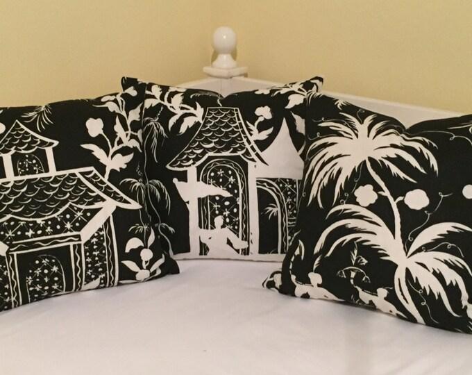 Quadrille China Seas Lyford Black and White 20 x 20 Designer Pillow Cover