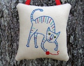 SALE, Unique Cat Lovers Gift, Colorful TABBY CAT Decor, Happy Cat Ornament, Frisky, Yarn Ball, Blue Red Purple, Hand Embroidery, Door Hanger