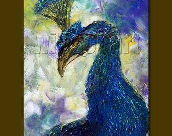 Peacock Modern Animal Art Painting Textured Palette Knife Original Oil on Canvas 12X16 by Willson Lau