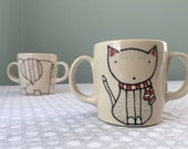 Reserved for Monica - Double handled Cat Mug Childrens Mug Kids Ceramics Child Pottery Cat Mug Cat Cup Kittens Two Handles Small Cup