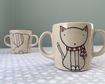 Double handled Cat Mug Childrens Mug Kids Ceramics Baby Gift Birthday Present Child Pottery Cat Mug Cat Cup Kittens Two Handles Small Cup