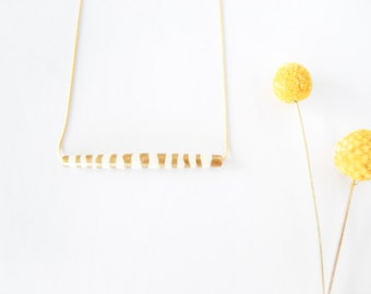 OOAK Hand Painted Gold Leaf Stripes Bar Necklace - Made to Order