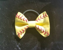 Softball Bow on ponytail holder 3 1/2 inches Hair Bow