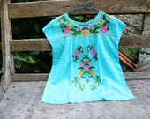 L-XL Bohemian Embroidered Top - Sky Blue