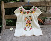 L-XL Bohemian Embroidered Top - Ivory