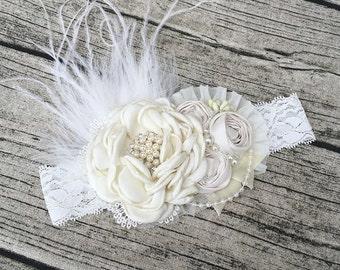 Cloud dream blessing headband baby headband flower headband baptism headband christening headband flower headband