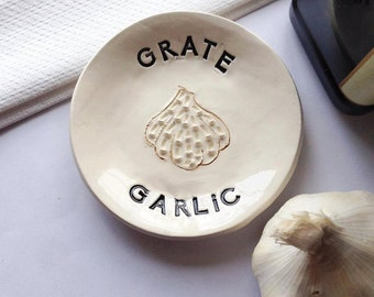 Garlic Grater - Small Grater - Kitchen Gift - Grater Gift - Gift For Her - Grater Plate - Garlic Plate - For Home Chef - Garlic lover Gift