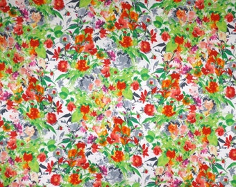 Lovely Green and Orange Small Floral Print Stretch Cotton Poplin Fabric--By the Yard