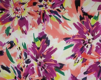Purple and Peach Sketchy Floral Print Stretch Cotton Sateen Fabric--By the Yard