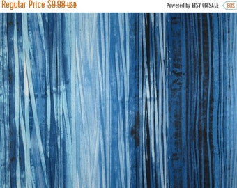 ON SALE Shades of Blue Striated Print Pure Cotton Fabric--One Yard