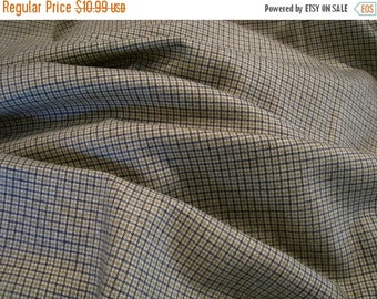 ON SALE SPECIAL--Wool Tattersall Check Fabric in Olive Navy and Ivory--One Yard