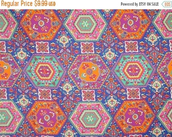 ON SALE SPECIAL--Colorful Medallion Foulard Print Pure Cotton Shirting Fabric--One Yard