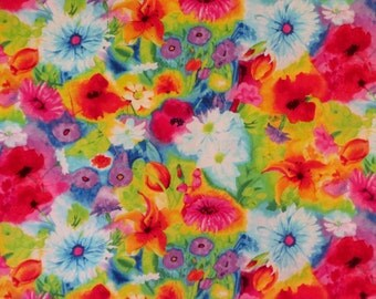REMNANT--Stunning Colorful Allover Ambrosia Floral Print Pure Cotton Fabric--1&3/8 YARDS