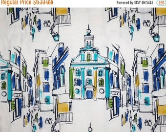 ON SALE SPECIAL--On The Town Print in Blue and Green Pure Cotton Fabric--One Yard
