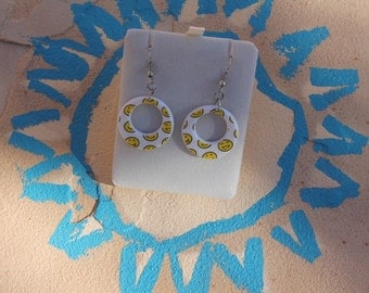 Earrings with happy faces