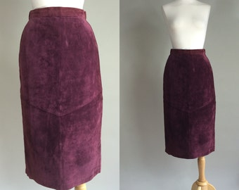70s Suede Skirt / 1970s Vintage Suede Skirt / Vintage 70s 100% Genuine Leather Skirt