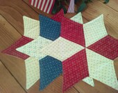 "Star Table Toppers ~ 18"" ~ set of 3 ~ Reversible ~ Machine quilted ~ Primitive ~ Country Decor ~ Americana ~ Candle Mat ~ Patriotic"