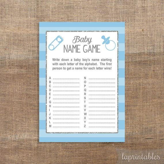 Blue Baby Name Game Baby Shower Game A To Z Game By