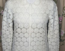 1960's Cream Crochet Cardigan by Snowflakes. Size Small.