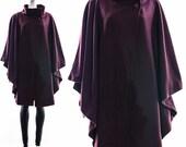 Vintage RARE 50s Dark Purple Heavy Wool Jacket AVANT GARDE Cape Asymmetric Poncho High Neck Collar One Size Fits All