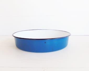 Vintage Blue  Graniteware Pan