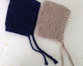 Ready to Ship~ Navy Blue and Oatmeal Handknit Baby/Toddler Bonnet 0-3 month set