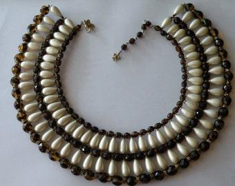 Vendome  Swarovski topaz beads, faux pearls beaded necklace.  Bib, Egyptian necklace.