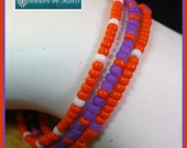 Orange and Purple Clemson Bracelet with Silver Paw Clasp for Clemson Fans, Multistrand Bracelet, Orange Purple White, Custom Sized