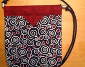 """Red Navy and White Swirly Print Quilted Fabric Snap Bag Purse Handbag 7-3/4"""" X 8-3/4"""""""