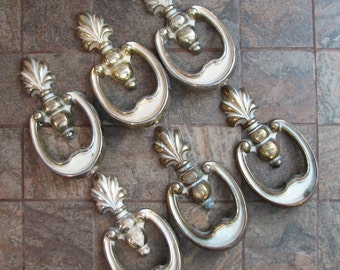Vintage Drawer Pulls Cabinet Handles Set of 6 Shabby Chippy Paint Cottage Chic
