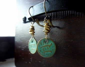 40% OFF SALE! Mini Ancient Coin Charms in Verdigris with Naturally Aged Brass Nugget Earrings