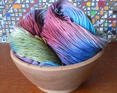 Tight Twist Handpainted Fingering Weight Superwash Merino Cashmere Nylon Sock Yarn-Rainbow Fish 400 yards
