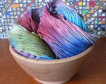 Tight Twist Handpainted Fingering Weight Superwash Merino Cashmere Nylon Sock Yarn-Rainbow Fish 400 yards