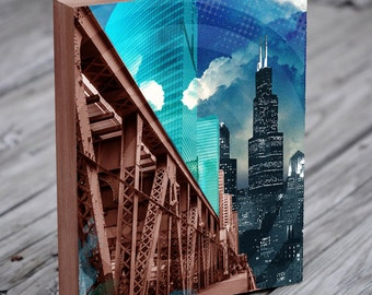 Chicago Architecture Collage - Willis Tower - Chicago Wall Art - Chicago Print