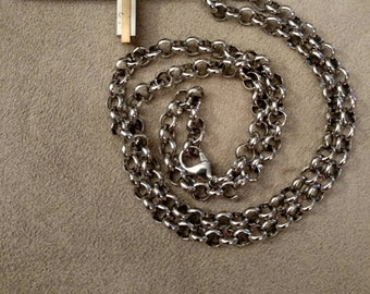 Stainless Steel Cross, Silver Gold combination, Heavy Rolo Stainless Chain, Gentleman's Gift, FREE SHIPPING
