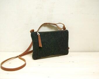 Felt crossbody bag - small black zipper shoulderbag
